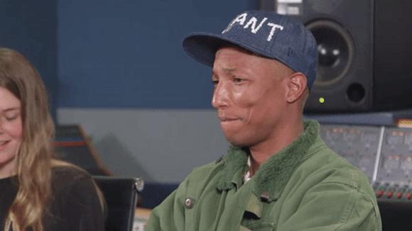 Pharrell Williams listens to NYU student Maggie Rodgers' music.