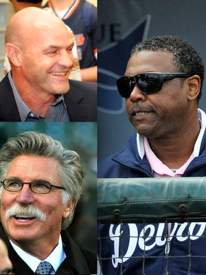 Kirk Gibson, top left, and Jack Morris, bottom left, will rotate with Rod Allen in the Fox Sports Detroit booth for 2015.