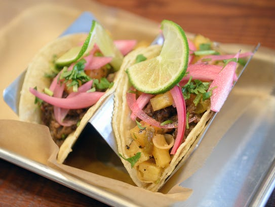 The braised short rib taco with grilled pineapple salsa.