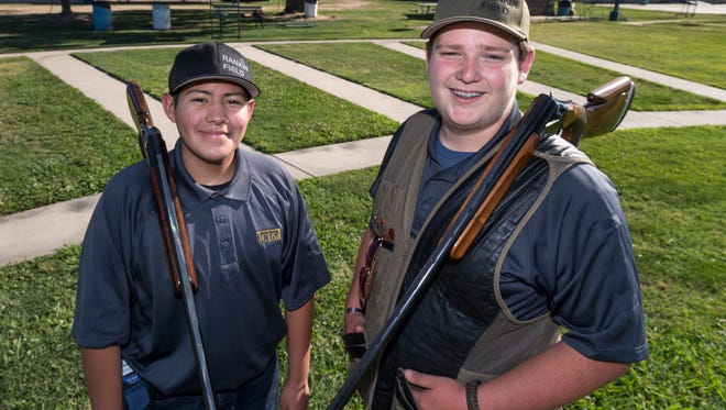 FFA members Matthew Gomez, left, and Hunter Seymore are two of four in California invited to compete in the 2018 4-H Shooting Sports National Championships in Grand Island Nebraska June 24-29.