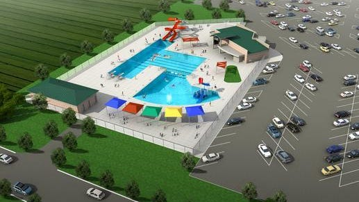 A rendering of the proposed Polk City Aquatic Center.