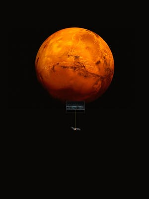 An artist's conception of the Mars Express spacecraft probing the southern hemisphere of Mars.