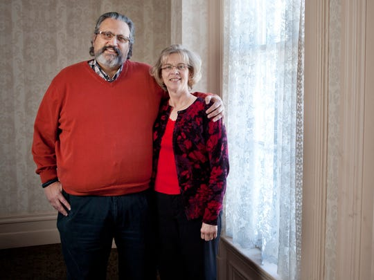 Jack and Debbie Woodburn, of Lakeport, pose together at Colonial Woods Christian Counseling Center in Port Huron. The couple, who have been married for 40 years, work together at the center.