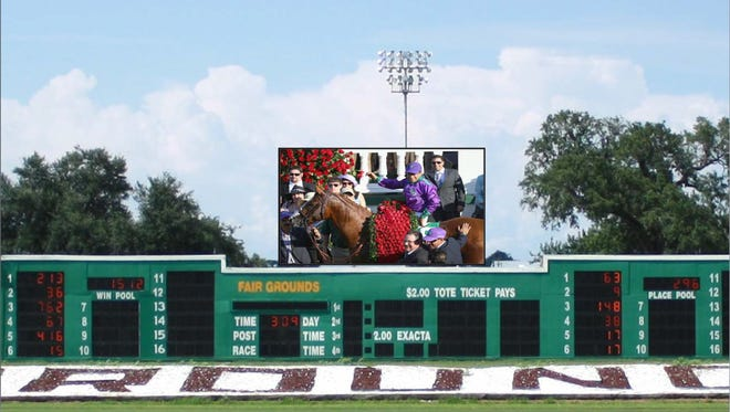 A rendering of the new infield video board at Fair Grounds Race Course & Slots in New Orleans. Louisville-based Churchill Downs Inc. agreed to buy it and one other after complaints from legislators and horsemen.