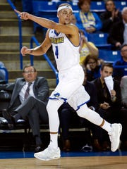 Delaware's Darian Bryant drops back on defense after a three-pointer in the first half against Goldey-Beacom at the Bob Carpenter Center Friday.