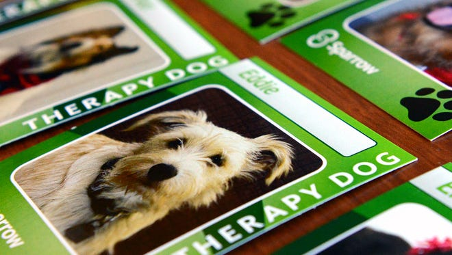 A sampling of the trading cards that Sparrow created for its therapy dogs.