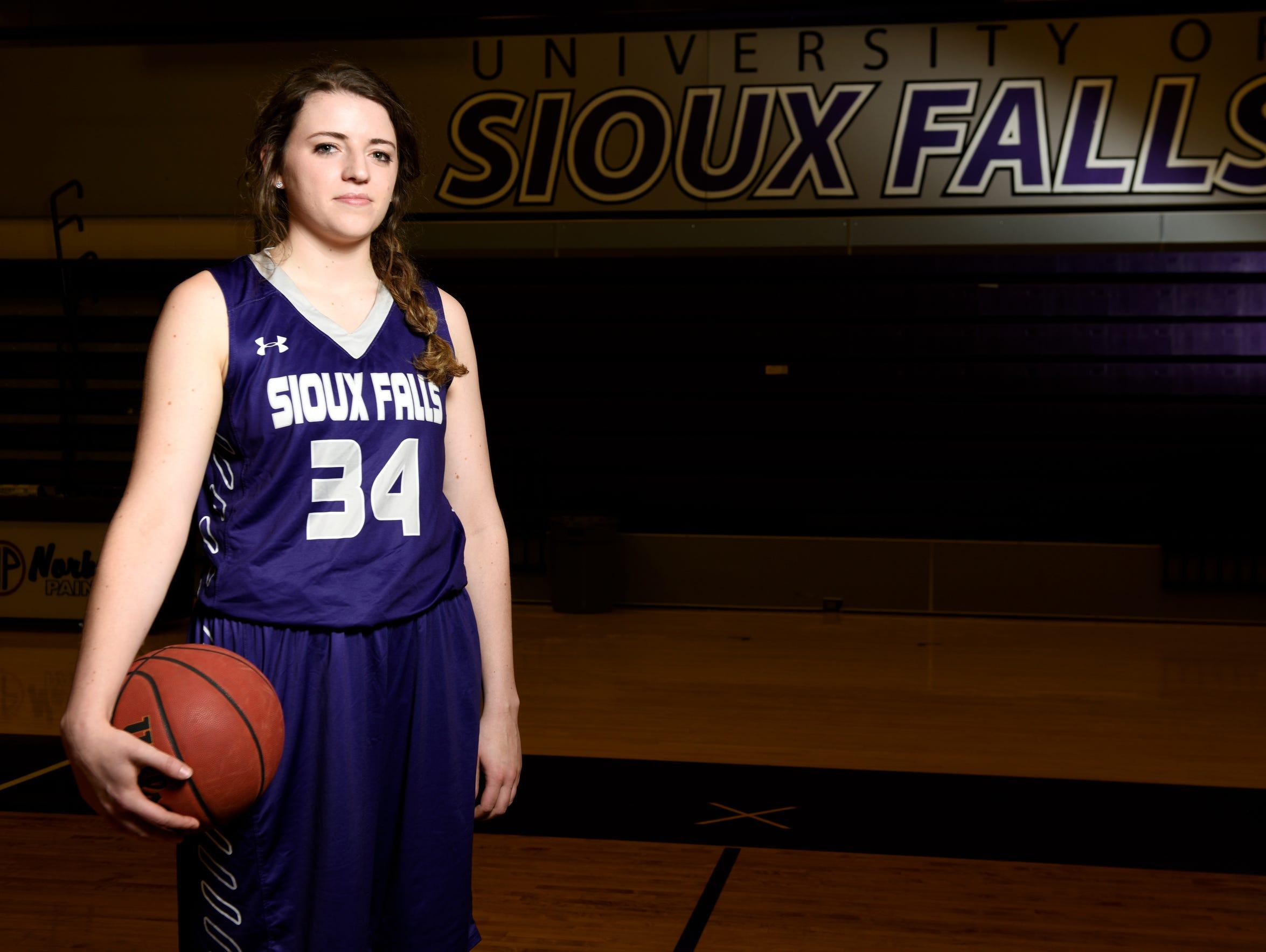 University of Sioux Falls forward Moira Duffy poses