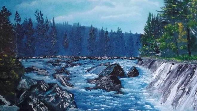 The sparkling water of the river reflects the blue of the sky in this Chuck Soik landscape, which is on display at Inspiration Studios, West Allis.