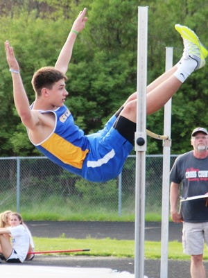 Trent Wrobleski was the winner in the high jump, contested in relay format, helping NewCath to a one-point victory in the NKAC track meet for small schools.