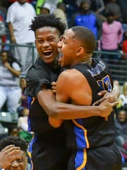 Raymond players celebrate their won over Corith in the MHSAA Boys 4A Championship Game held at The Coliseum in Jackson MS.(Photo/Bob Smith)