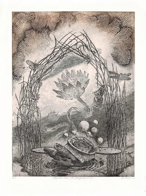 """""""Mysterium Cosmographicum"""" is one of the works featured in Art Under Pressure, Intaglio Works by Craig Fisher. The exhibit will be featured in a gallery opening event on Friday, June 2 from 7-9 p.m., giving those attending a chance to meet the artist.  Gallery hours are from 10 a.m. to 5 p.m. Wednesdays through Fridays and from 11 a.m. to 4 p.m. Saturdays May 31-June 24."""