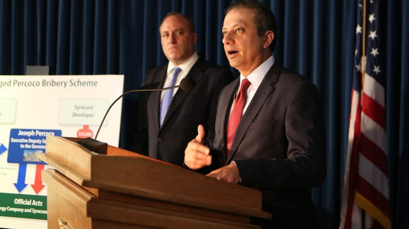 Preet Bharara, the United States Attorney for the Southern District of New York outlines yet another batch of federal corruption charges charges during a Sept. 22 press conference.