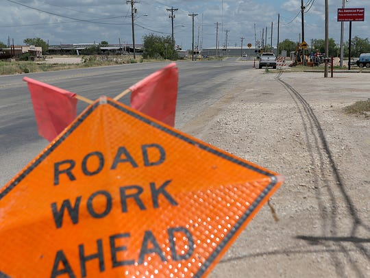 Construction on a road in San Angelo Monday, June 18, 2018.