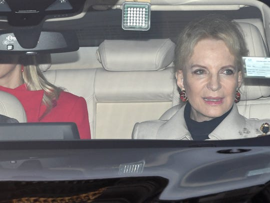 Princess Michael of Kent leaving after the annual Christmas