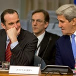 U.S. Secretary of State John Kerry, right, talks to Brett McGurk, a special presidential envoy to the U.S.-led coalition against the Islamic State group,  during a 23-nation conference in Rome on Feb. 2, 2016.