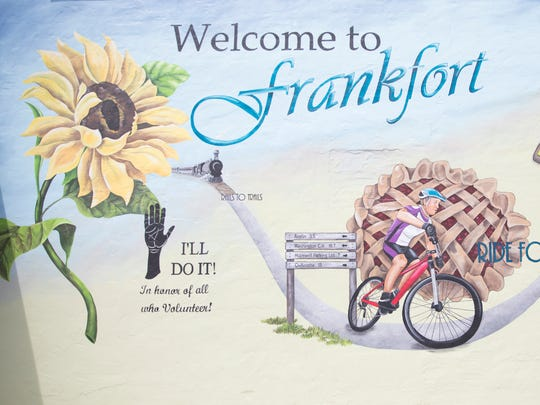When finished, the Frankfort mural will show the town's history and other local landmarks of the area.