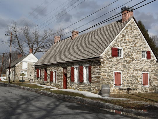 The historic buildings along Huguenot Street in New