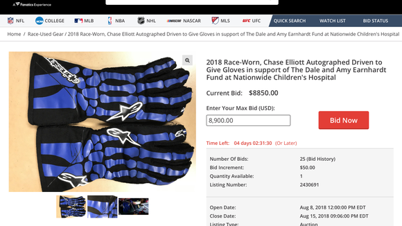 Bidding for Chase Elliott's skeleton gloves from first win is up to almost $9,000