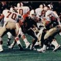 Former Pennsauken standout Greg Mark, shown here making a tackle in the backfield during his playing days at Miami, will enter the South Jersey Football Hall of Fame on Tuesday.