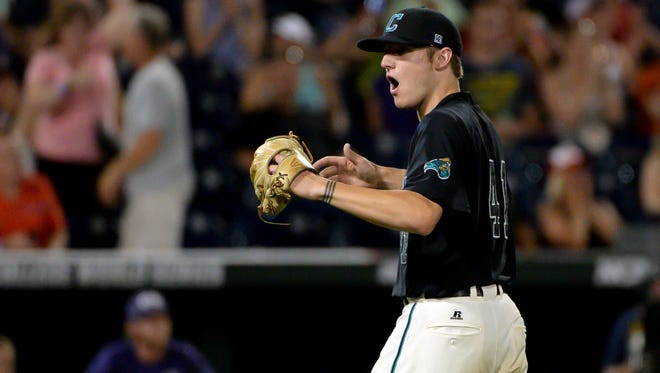 Coastal Carolina Chanticleers pitcher Andrew Beckwith (41) reacts after the win against the TCU Horned Frogs in the 2016 College World Series at TD Ameritrade Park. Coastal Carolina Chanticleers defeated TCU Horned Frogs 4-1.