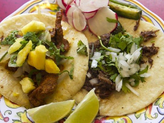 Carnitas and al pastor tacos from Tortilleria La Rancherita in Bonita Springs.