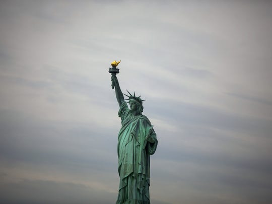 The Statue of Liberty is seen on in New York City.
