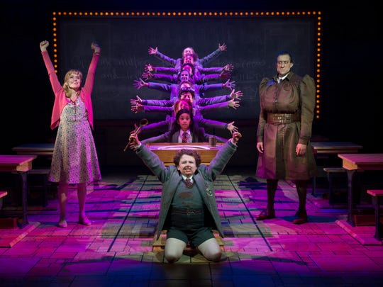 """A scene from """"Matilda the Musical.""""  Bryce Ryness (right) is pictured as Miss Trunchbull. The role is now played by David Abeles."""