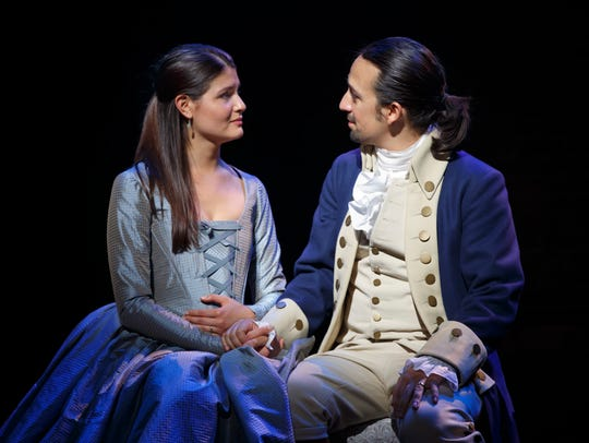 Philippa Soo and Lin-Manuel Miranda in a scene from