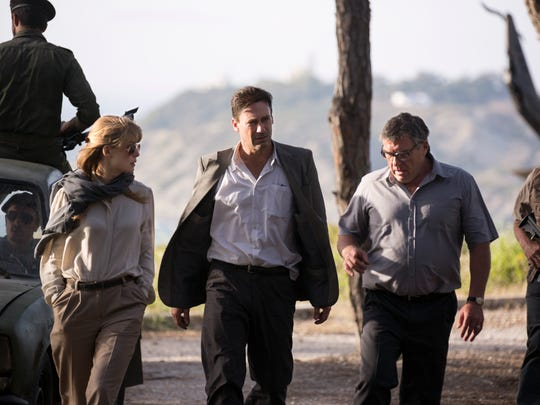 Rosamund Pike (from left), Jon Hamm and Dean Norris