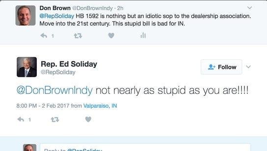 Screenshot of a Twitter exchange between Rep. Ed Soliday