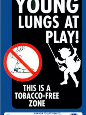 The Young Lungs at Play program strives to keep public parks and playgrounds tobacco-free with signs like these.