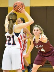 Southern Fulton's Drew Gordon guards Caroline Arena of Jenkintown during the PIAA Class 1A girls basketball second-round game against the Drakes. The Indians fell 57-27.