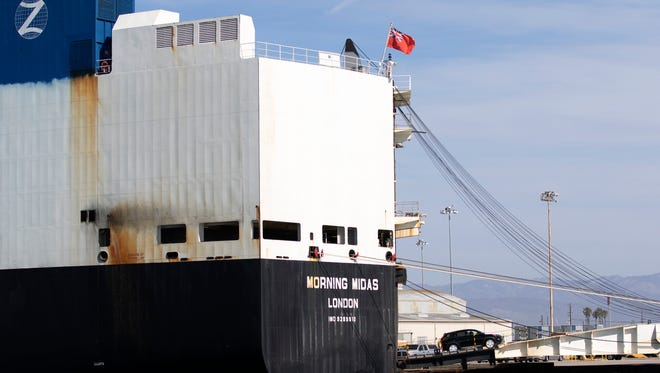 Hyundai vehicles are unloaded from a cargo ship docked at the Port of Hueneme. The city receives roughly $1.6 million in revenue from port activities each year.