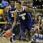 Jackson State guard Paris Collins (5), pictured against Southern Miss, scored 21 points in an overtime loss against Tennessee Tech.