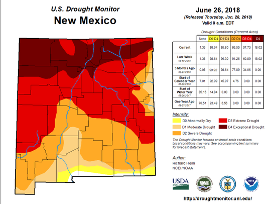 This map shows drought conditions across New Mexico