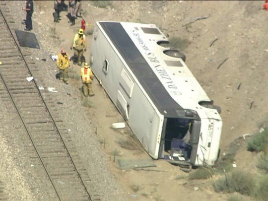 Dozens hurt in casino bus accident on L A  freeway