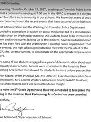 Washington Township Public Schools issued a letter to parents setting an emergency community meeting related to a disturbance at the school.