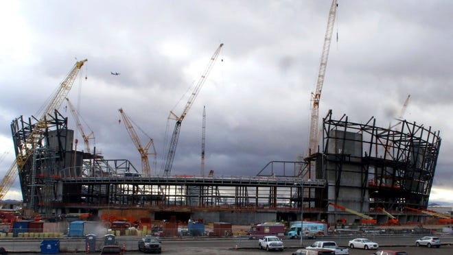 This Jan. 17, 2019, photo shows the construction site for the future Raiders stadium in Las Vegas.