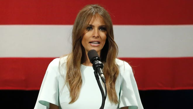 Melania Trump, wife of Republican presidential candidate Donald Trump, addresses a rally at the Milwaukee Theatre on April 4, 2016.