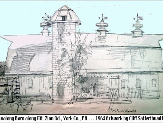 Southward view of Avalong Barn along Mt. Zion Road in Springettsbury Township (1964 Artwork by Cliff Satterthwaite)
