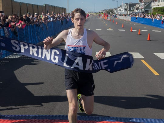 Justin Scheid takes first overall in the 2017 Spring Lake Five mile run in Spring Lake, NJ on May 27, 2017.