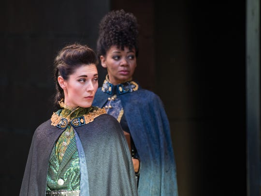 "Kelly Rogers plays Montjoy and Latoya Cameron plays Rambures in the Utah Shakespeare Festival's 2016 production of ""Henry V."""