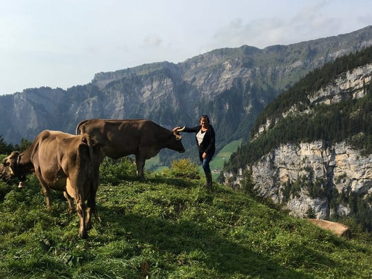 Laura Conrow, who is debuting her Wedge Cheese Truck in 2018, takes a moment on the Wasserberg Alp near the Gwerder family's cheese dairy in Switzerland.