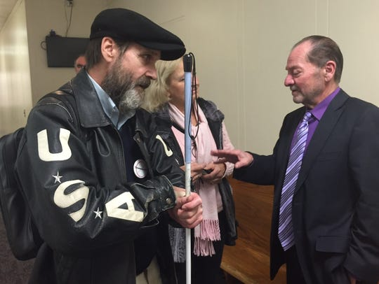 Joe Harcz (left) and his attorney Brian Kamar during