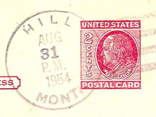 A last-day postmark from Hill in 1954. Harold Jeppesen was the postmaster at the time of closing. The Hill post office first opened in 1898.
