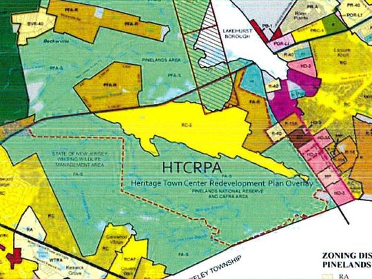 A map shows the location of the proposed Heritage Town Center.