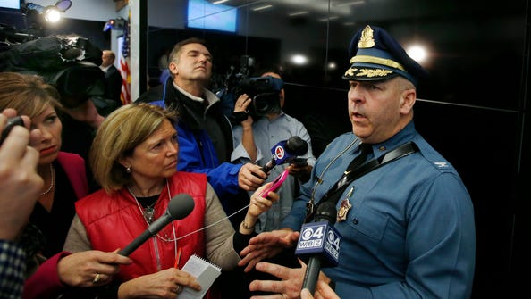 Col. Timothy Alben, superintendent of the Massachusetts State Police, speaks to reporters in Framingham, Mass., Monday, March 10, 2014, about security for the 2014 Boston Marathon.