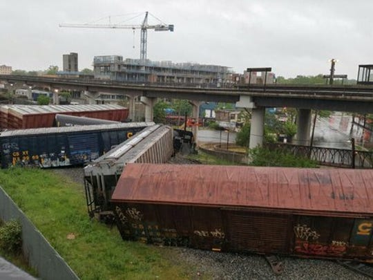 Cars from a CSX Transportation train derailed May 1,