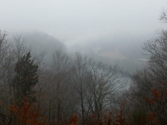 Observation Point is beautiful even when mist covers everything.