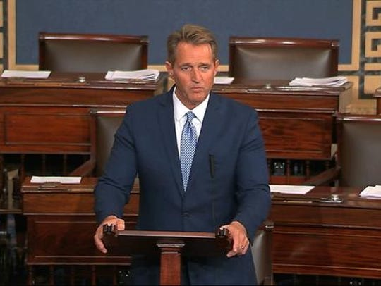 In this image from video from Senate Television, Sen.